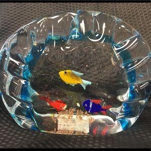 Murano Italy Fishes in Aquarium Glass Sculpture